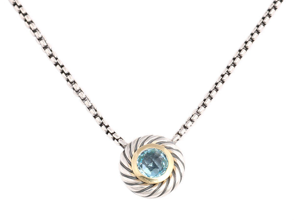 David Yurman Sterling Silver and 18K Gold Blue Topaz Cookie Necklace