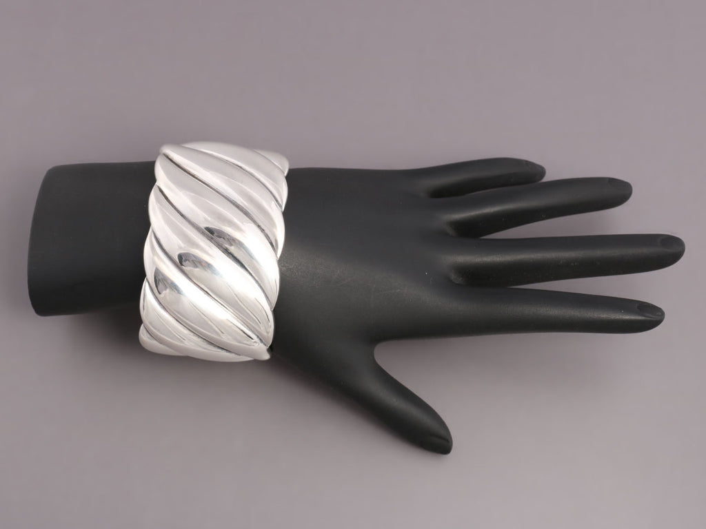 David Yurman Wide Sterling Silver Sculpted Cable Cuff
