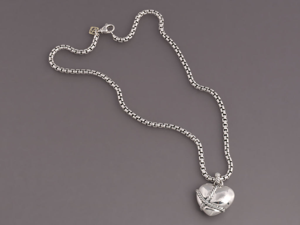 David Yurman Sterling Silver Wrapped Heart Necklace