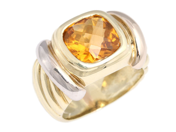 David Yurman 14K Gold and Sterling Silver Honey Citrine Ring