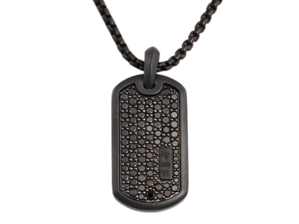 David Yurman Black Titanium, Sterling Silver, and Diamond Dog Tag Pendant Necklace