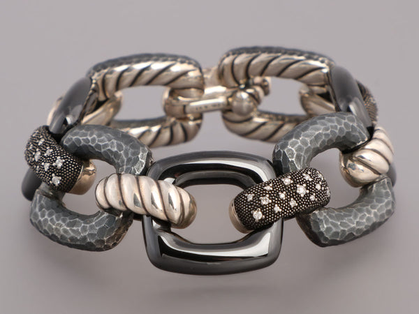 David Yurman Sterling Silver Ceramic Diamond Midnight Mélange Link Bracelet