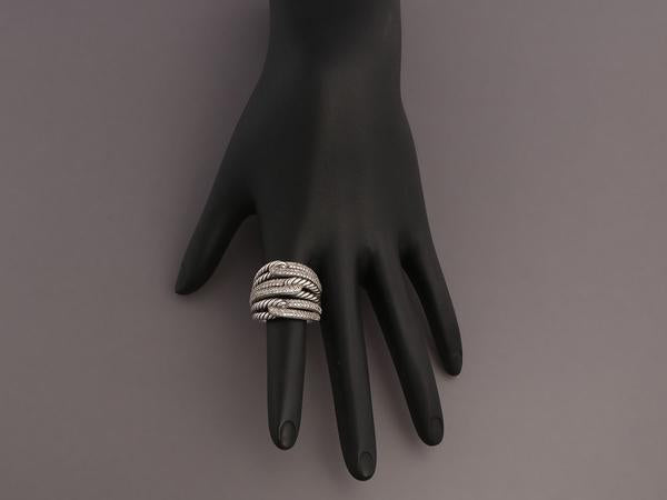 David Yurman Sterling Silver Diamond Triple Loop Labyrinth Ring