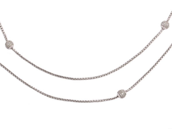David Yurman Petite Sterling Silver and Pavé Diamond Ball Necklace