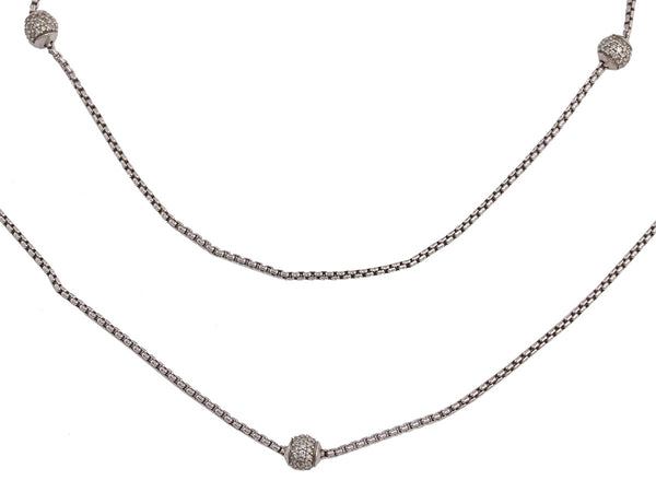 David Yurman Petite Sterling Silver and Pavé Diamond Ball Necklace 37""