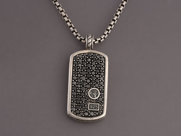 David Yurman Sterling Silver and Black Diamond Dog Tag Pendant Necklace