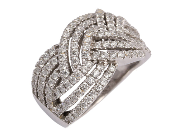 14K White Gold Diamond Woven Ring