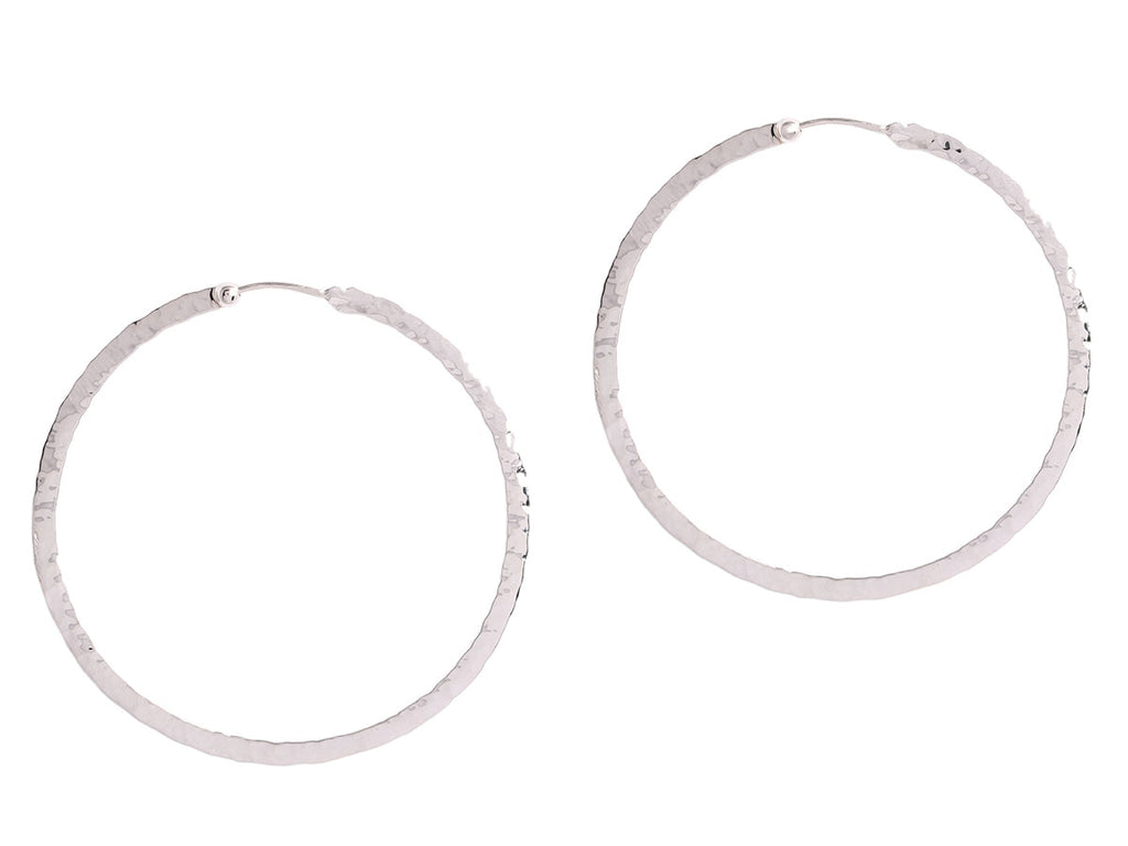 Hammered White Gold Flat Hoop Earrings