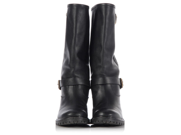Fendi Rabbit Fur Lined Motorcycle Boots