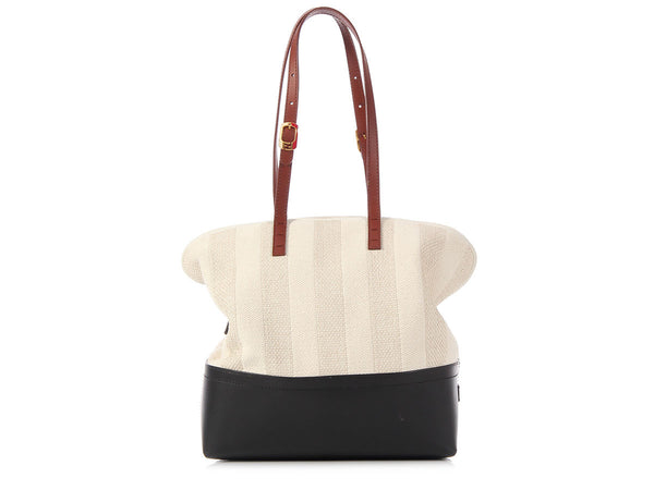 Fendi Black Leather and Cream Straw Pequin 2Bag