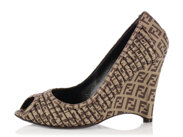 Fendi Logo Canvas Peep Toe Wedges