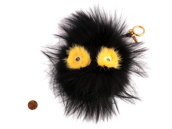 Fendi Black Fur Fusto Monster Bag Bug Charm