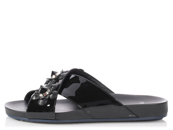 Fendi Black Flowerland Slide Sandals