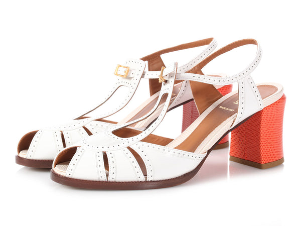 Fendi White and Orange Patent Lizard Effect Sandals