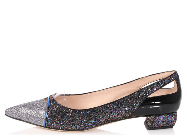 Fendi Multicolor Glitter Pointy-Toed Amanda Pumps