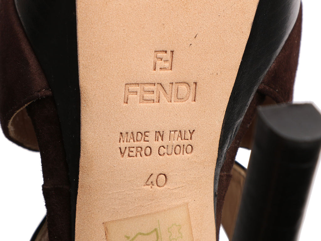 Fendi Black and Brown Butterfly Platform Pumps
