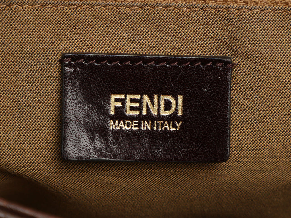 Fendi Brown Leather Mia Flap Shoulder Bag
