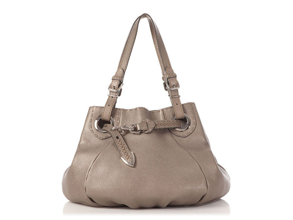 Fendi Metallic Silver Selleria Belted Bucket Tote