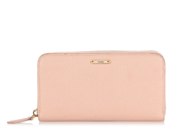 Fendi Pale Pink Vitello Elite Zip-Around Wallet