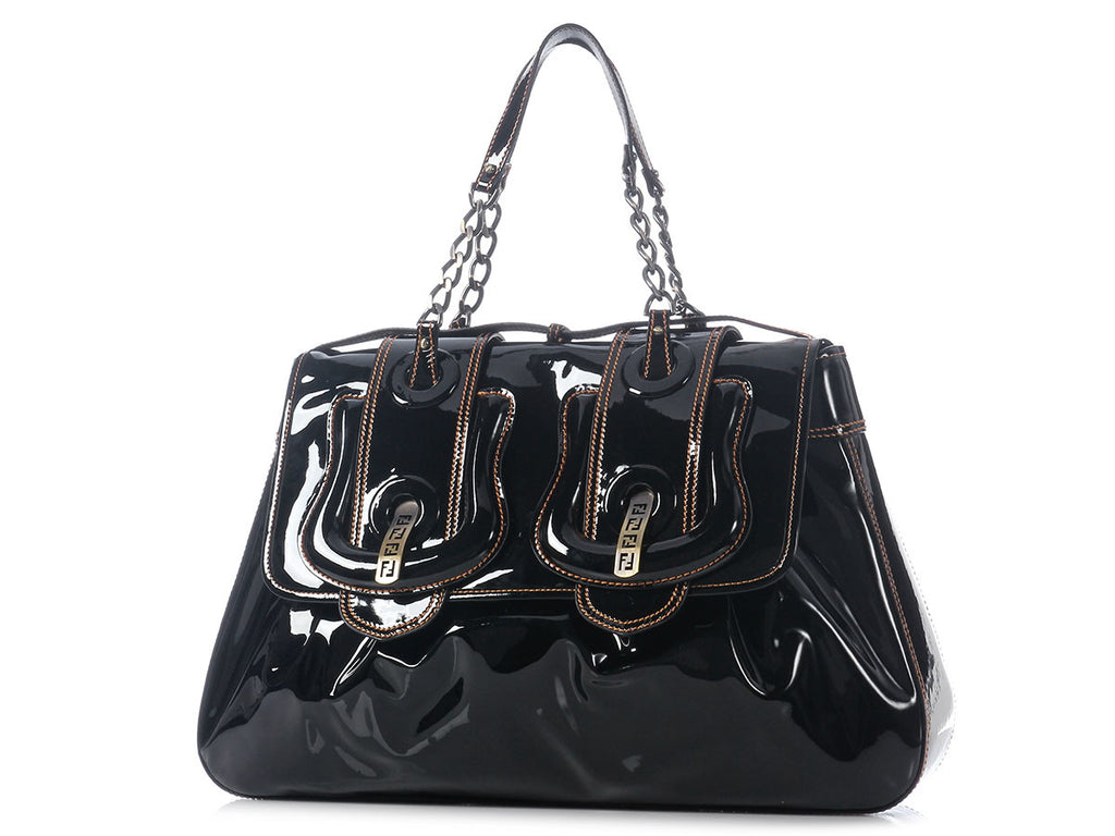 Fendi Large Black Patent B Bag