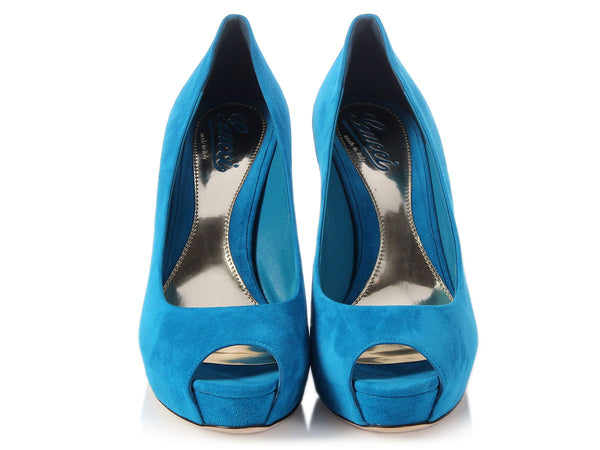 Gucci Peacock Blue Suede Peep-Toe Pumps