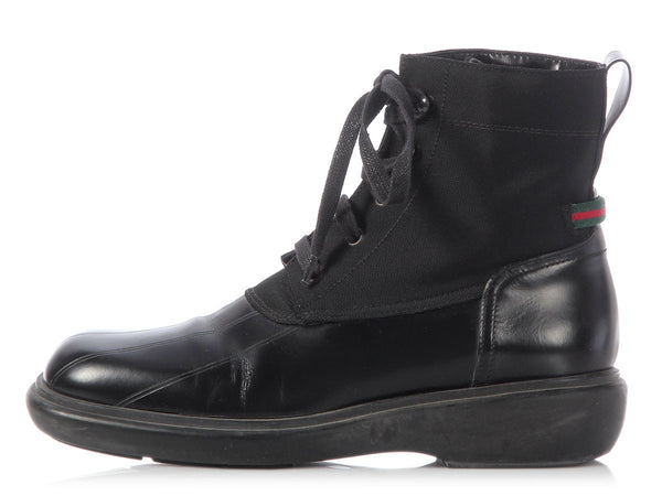 Gucci Black Lace Up Ankle Boots
