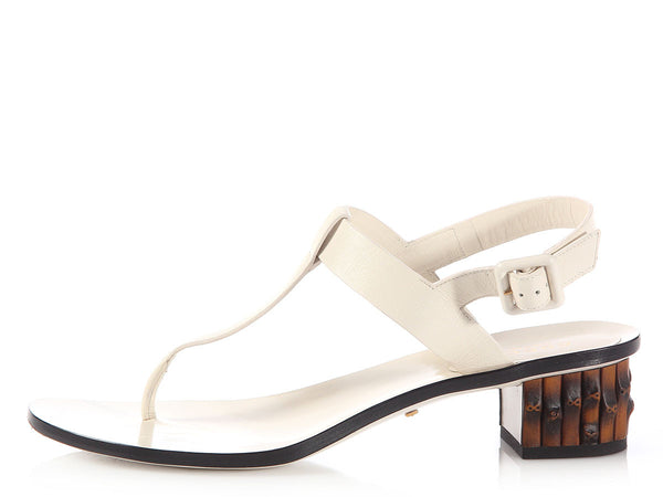Gucci Beige Dahlia Thong Pump Sandals