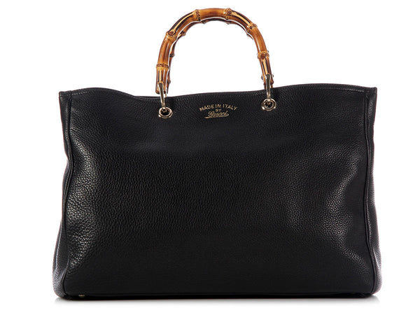 Gucci Large Black Bamboo Shopper