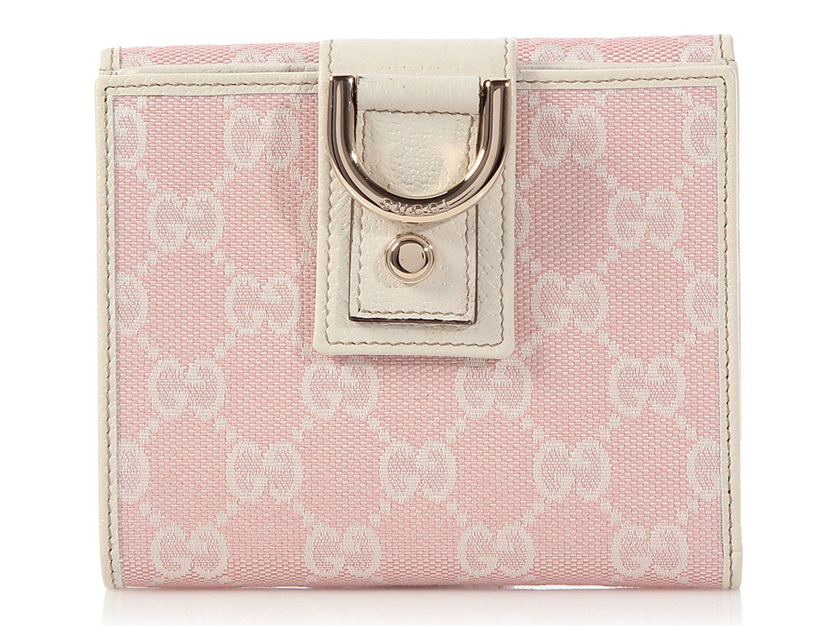 732284c01442 Gucci Pink Monogram New Abbey French Wallet - Ann s Fabulous Closeouts