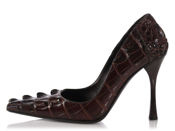 Gucci Brown Alligator Pumps