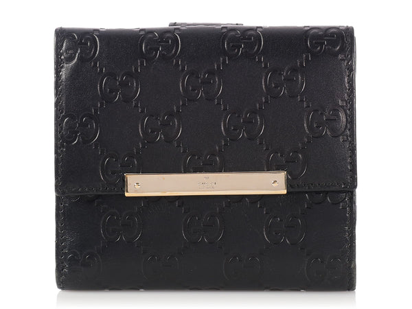 Gucci Black Guccissima Metal Bar Compact Wallet
