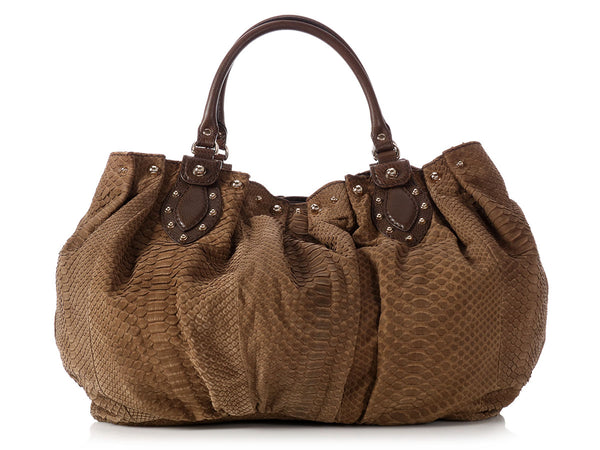 Gucci Brown Snakeskin Stud Hobo