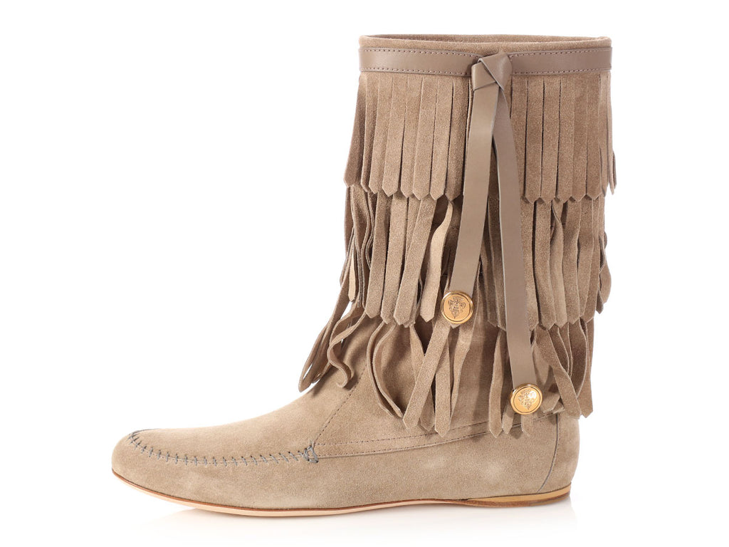 Gucci Taupe Suede Venere Fringe Moccasin Boots