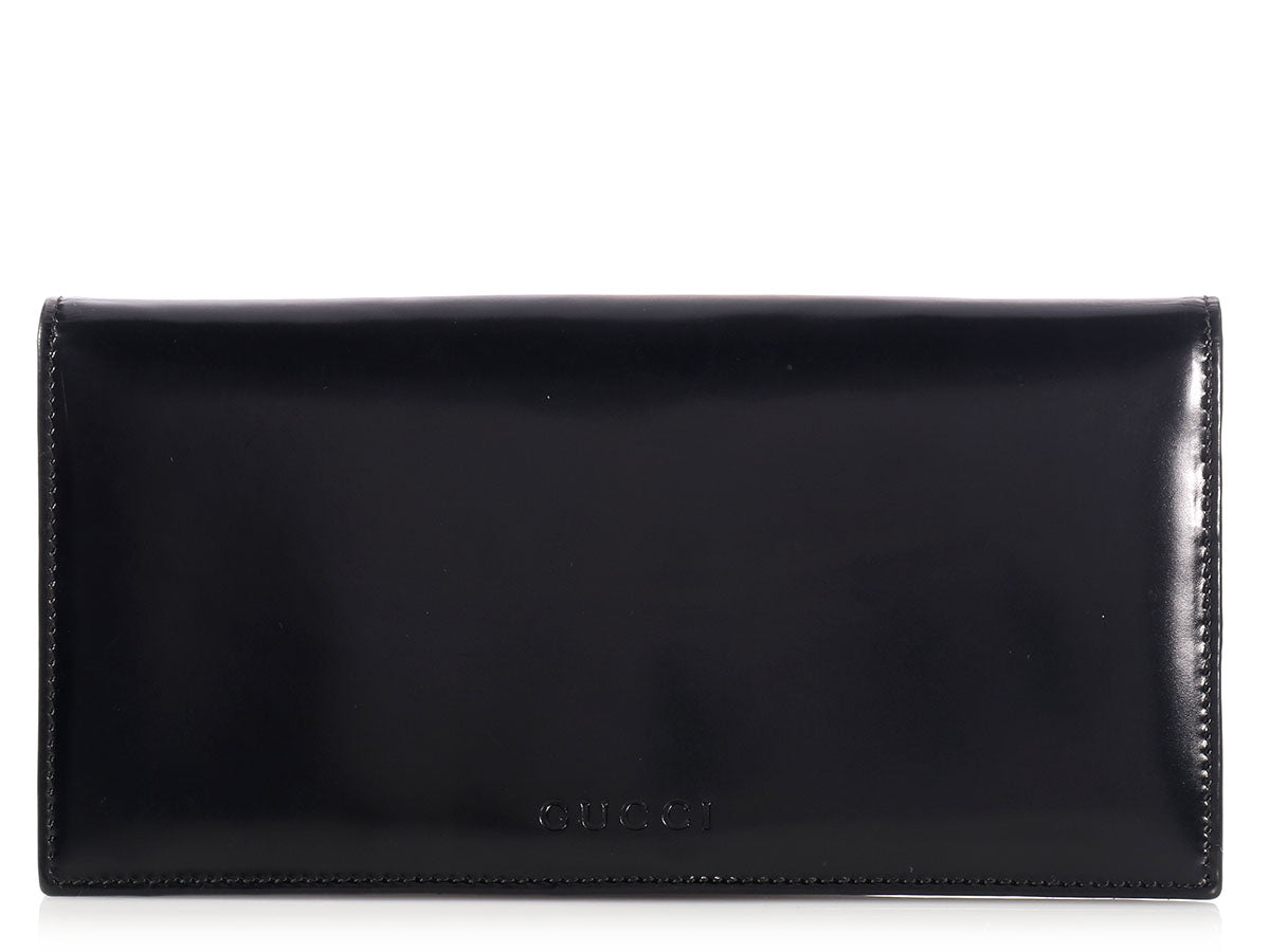 672f4a02a46361 Gucci Black Leather Long Wallet - Ann's Fabulous Closeouts