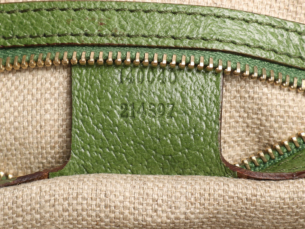 Gucci Green Embroidered Suede Jackie Shoulder Bag
