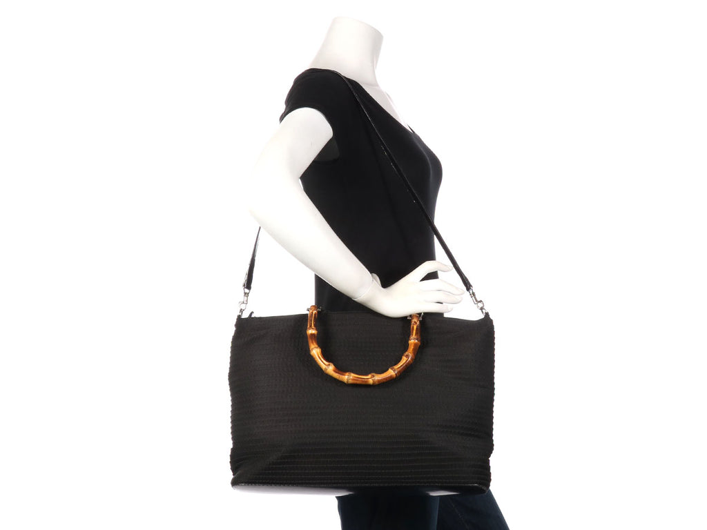 Gucci Large Vintage Black Canvas Bamboo Handle Tote