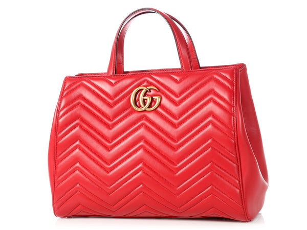 Gucci Medium Red GG Marmont Matelassé Top Handle Bag