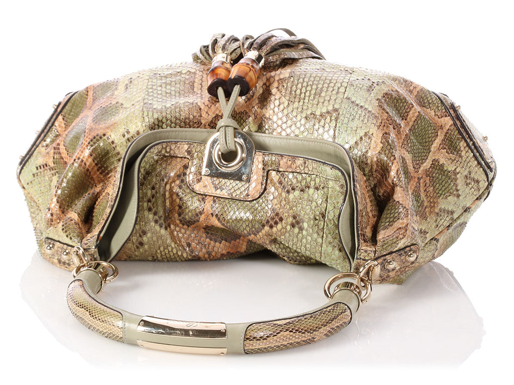 Gucci Large Green Python Indy Hobo