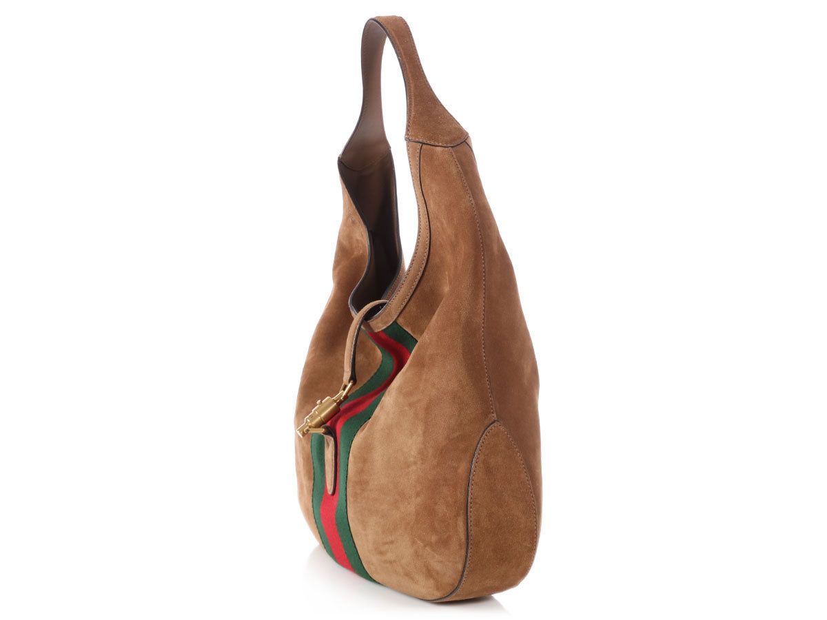 81b299d9785f Gucci Large Brown Suede Web Soft Jackie Hobo - Ann's Fabulous Closeouts