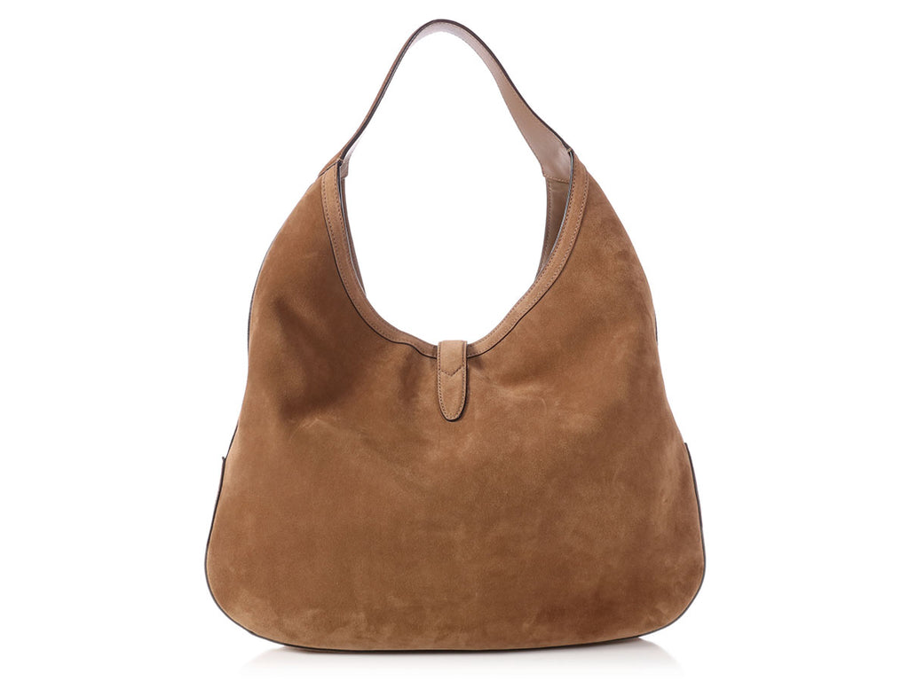 Gucci Large Brown Suede Web Soft Jackie Hobo