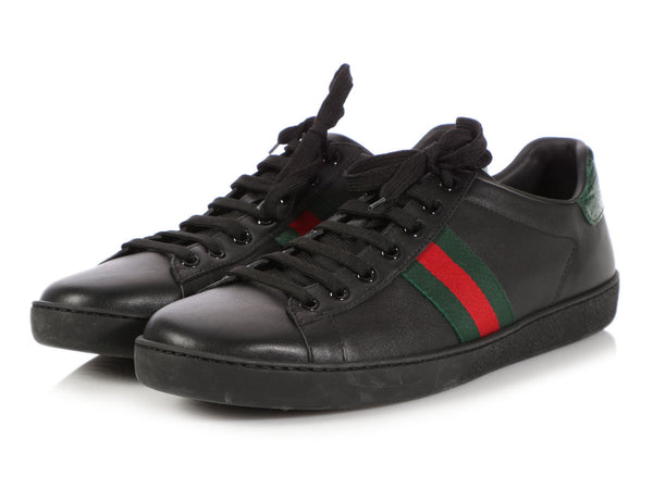 Gucci Black Leather Ace Sneakers
