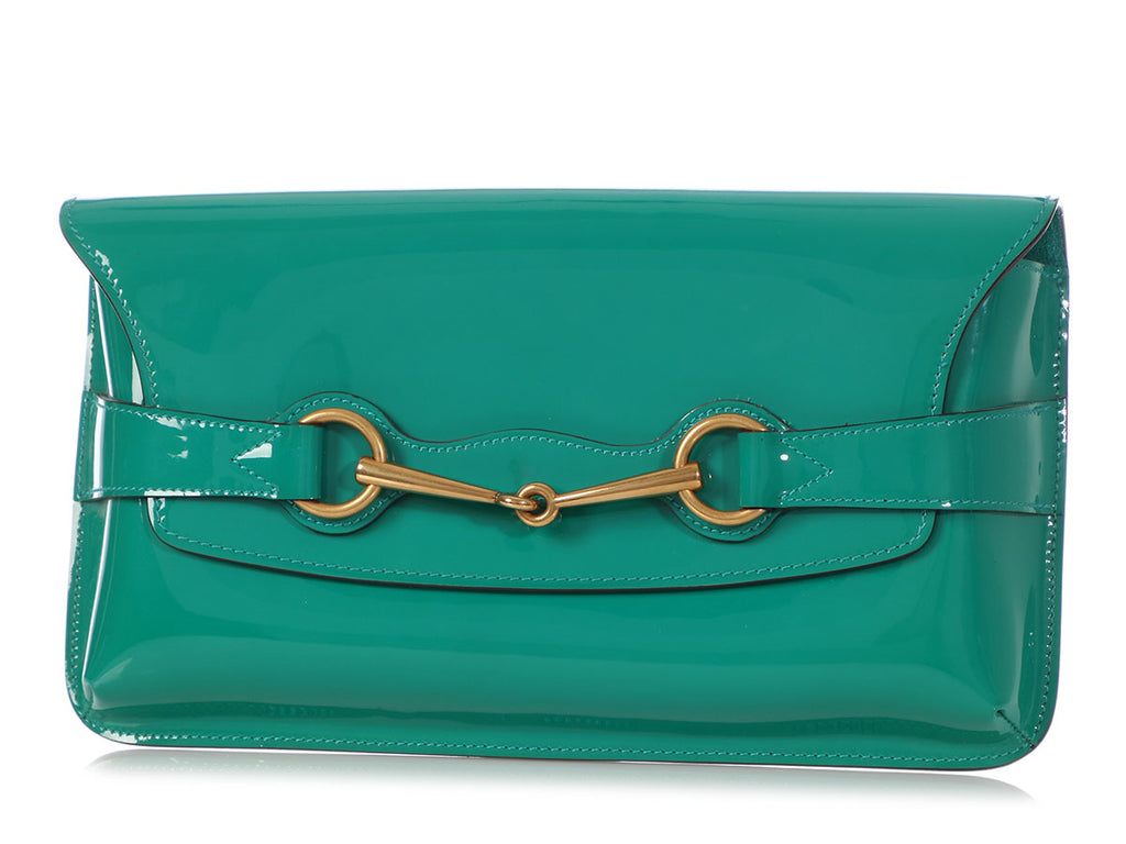 Gucci Teal Patent Bright Bit Clutch