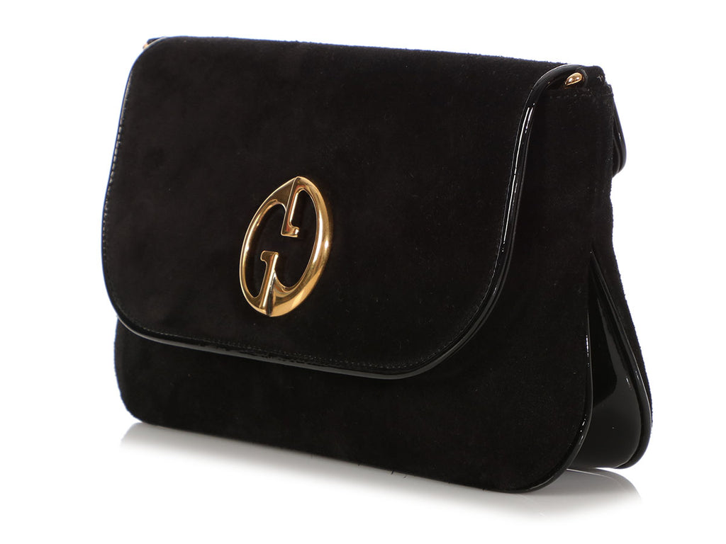 Gucci Medium Black Suede and Patent 1973 Shoulder Bag