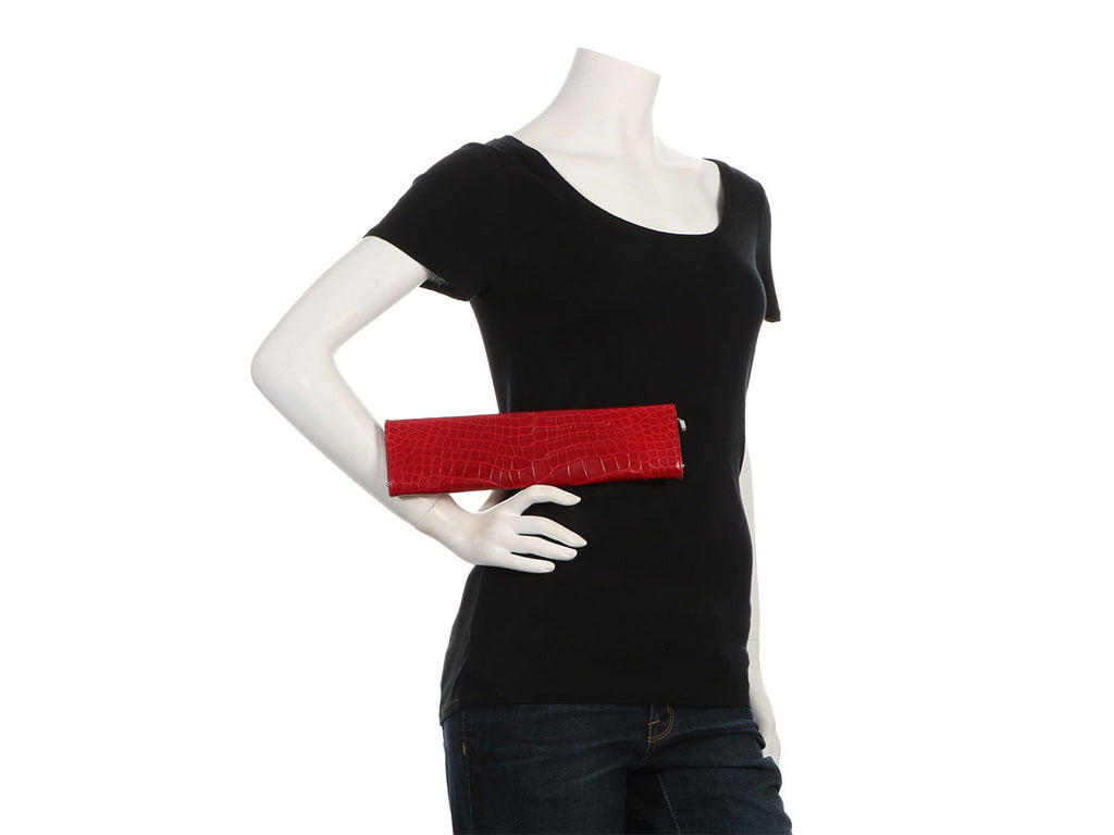 Gucci Red Alligator Long Clutch