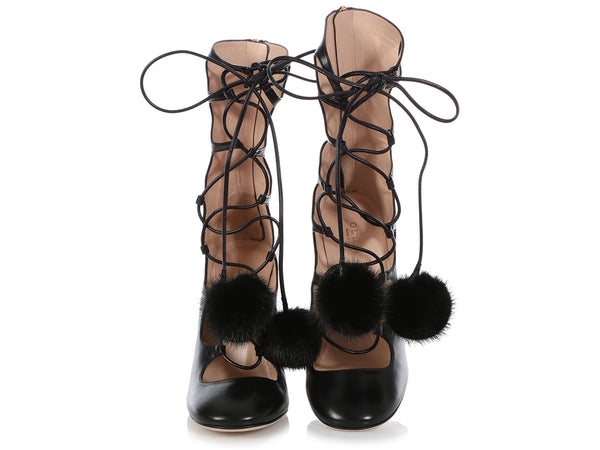 Gucci Black Héloïse Lace-Up Boots