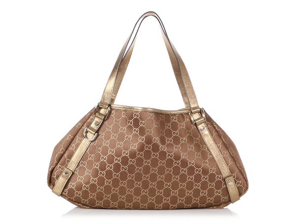 Gucci Medium Gold Monogram Abbey Tote