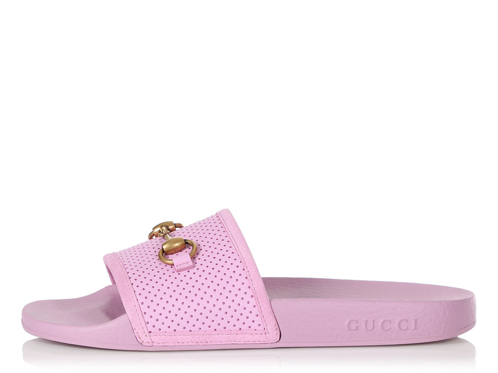 Gucci Pink Perforated Slides