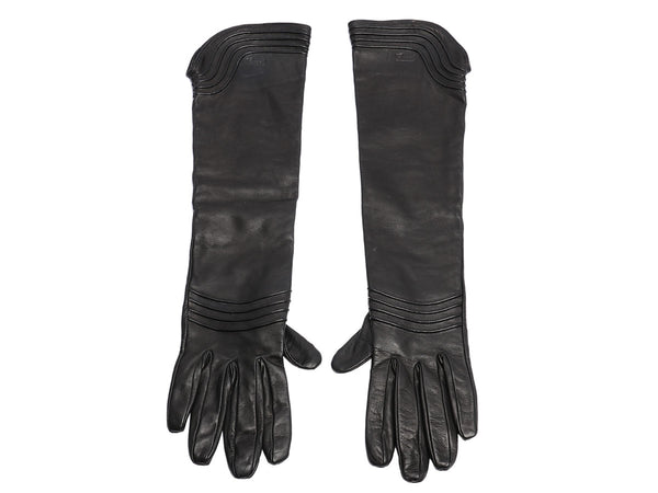 Gucci Long Black Leather Gloves