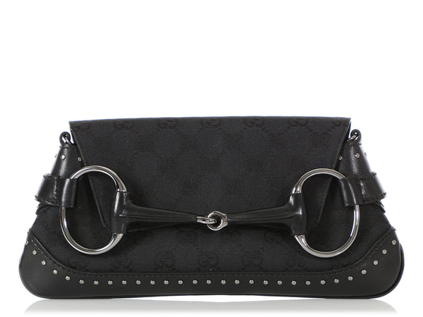 Gucci Black Tom Ford Horsebit Studded Shoulder Bag
