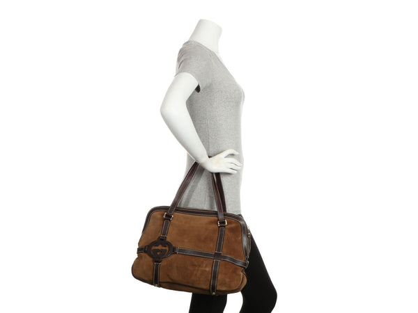 Gucci Brown Suede Interlocking Satchel
